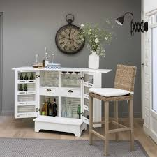 wooden bar unit in white w80 barbade