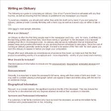 sample of obituary 11 obituary templates word excel pdf formats