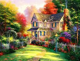 house in paradise trees colorful heaven