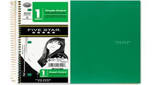 Five Star Spiral Notebook Graph Ruled 1 Subject 8 5 X 11 Inch 100