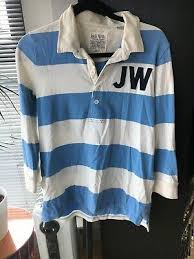 women s jack wills striped rugby shirt blue and white with 3 4 sleeve size 14