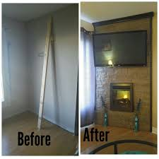 diy faux stone corner wall in my living room with electric fireplace insert and mounted