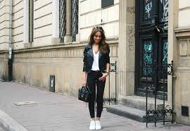 knitted sweater with leather trousers leather jacket with skinny pants leather skirt with white top