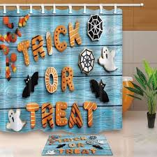 bath decor trick or treat and ghost bats on turquoise wooden waterproof polyester fabric shower