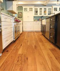 prefinished wide wood plank flooring hickory pecan kitchen