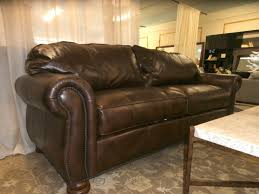 thomasville nailhead leather sofa at