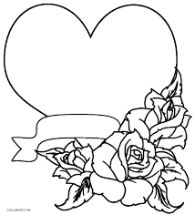 coloring pages hearts with roses heart pictures free printable rose page
