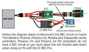 castle creations ccbec pro 20a switching regulator Ubec Wiring Diagram the two power output wires of the ubec have receiver connectors on them, and these are plugged into any two open channels of the receiver turnigy ubec wiring diagram