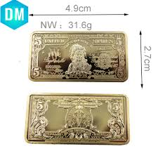 5 Dollar Design Us 11 6 10 Off 5 Dollar American Fake Money Design Gold Bar 24k 999 9 Gold Plated Fake Bars Home Decorative Metal Crafts With Plastic Case In