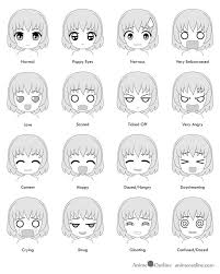 16 Chibi Anime Facial Expressions Emotions Chart In 2019