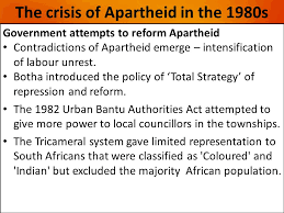 what was the nature of the civil society resistance after the the crisis of apartheid in the 1980s