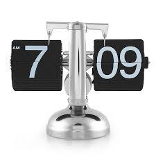 2019 retro digital auto flip down metal alarm clock desk table modern watch internal gear operated single scale stand silent clock from jasm