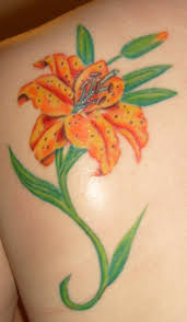 magnificent orange lilly tattoo picture