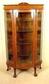 miller vintage curio cabinet antique corner with curved glass cabinets furniture