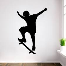 new arrival single skateboarding sports silhouette wall decals boy skateboard silhouette removable graphic 60 90cm wall art applique wall art decal from