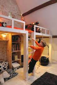 i like loft bed being built into wall bigger than the bed so its easy