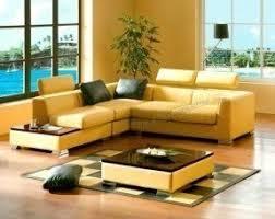 Yellow leather sofas