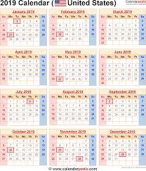 Calendar 2019 Printable With Holidays 2019 Calendar With Federal Holidays Excel Pdf Word Templates