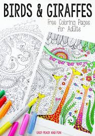 Birds And Giraffes Coloring Pages For Grown Ups Easy Peasy And Fun