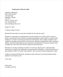 Employment Letter Of Recommendation Template