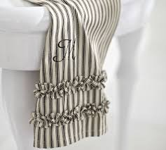 ticking stripe ruffled guest towels set of 2