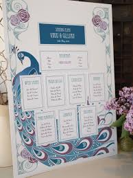 Wedding Seating Plan Art Deco Peacock In Turquoise Blues