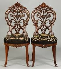 2 meeks side chairs sold for 1 400 19th cent pierce carved back ht