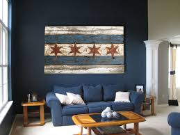 handmade recycled barn wood chicago flag vintage art distressed weathered