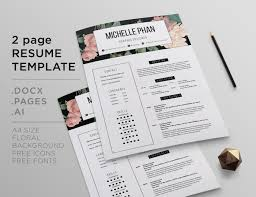 Floral 2 Page Cv Template Resume Template By Chic Templates