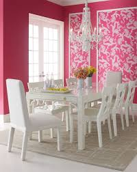 pink and white furniture. lilly pulitzer home classic white dining furniture from horchow i love the pink wallpaper panels and a