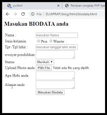 Cara Membuat Form Biodata Dengan Html Kodewebsite
