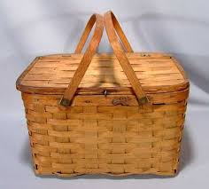 woven wood basket. Delighful Wood Here Is A Sweet Little Vintage Picnic Basket Made From Woven Wood With  Flip Top And Nice Curved Wooden Handles It Has Developed Nice Patina Over Time  Intended Woven Wood Basket M