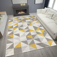 modern style rugs home accessories in geometric grey black cream mustard yellow diamond triangles pattern