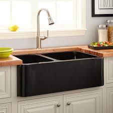 36 Polished Granite 6040 Offset Double Bowl Farmhouse Sink Black