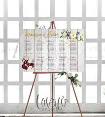 Wedding Guest List Seating Chart Wedding Seating Chart Printable Gold Guests List Watercolor Printable Boho Guest List Seating Chart Floral Rustic Deers Tabeau De Mariage