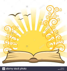 open magic book with sun in the background stock image