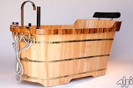 alfi brand ab1148 59 free standing wooden bathtub with chrome tub filler bathroom bathtubs faucetmart