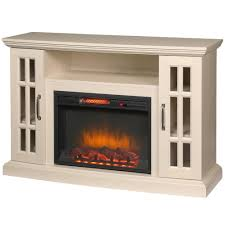 home decorators collection edenfield 48 in freestanding infrared electric fireplace tv stand in aged white