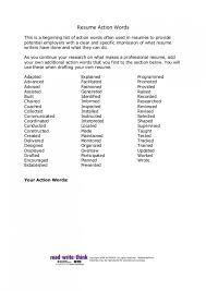 Action Words For Resumes Inspiration Best Resume Action Words Action Words For Resume Freizeit Job