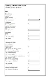 Accounting Balance Sheet Template Balance Sheet Templates Template For Small Business Format Monthly