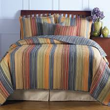 blue cotton quilt.  Blue King Size 100 Cotton Quilt Set With Brown Orange Red Blue Stripes For A