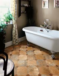 asbestos vinyl sheet flooring for old and vintage small bathroom spaces with indoor potted plants brown
