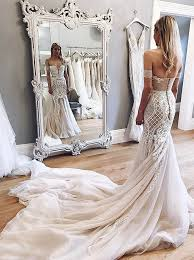 Mermaid Off-the-Shoulder Chapel Train <b>Champagne Tulle Wedding</b> ...