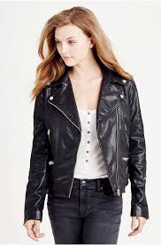 true religion lovely true religion leather moto jacket jet black jackets womens