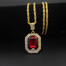 details about gold red ruby gem pendant iced out chain necklace hip hop bling u k er