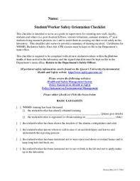 Revisedstudentworkerorientationchecklistmar04 By Queens Faculty Of