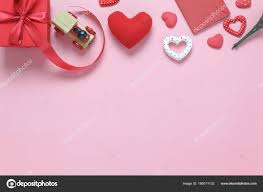 valentines office decorations. Image Of Sign Valentines Day Background Concept.Flat Lay Many Heart Shape With Decorations And Gift Box On Modern Pink Paper At Home Office Desk Studio. E