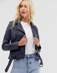barney s originals barney s originals coloured leather biker jacket in navy navy goxip