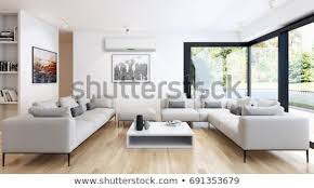 Modern bright living room Light Up Modern Bright Living Room Lounge Interior With Air Conditioning 3d Rendering Shutterstock Modern Bright Living Room Lounge Interior Stock Illustration