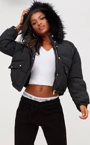 black cropped puffer jacket with faux fur hood coats jackets prettylittlething usa